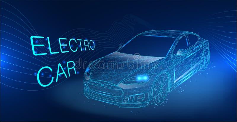Electric car illustration. Eco, electro auto concept royalty free illustration