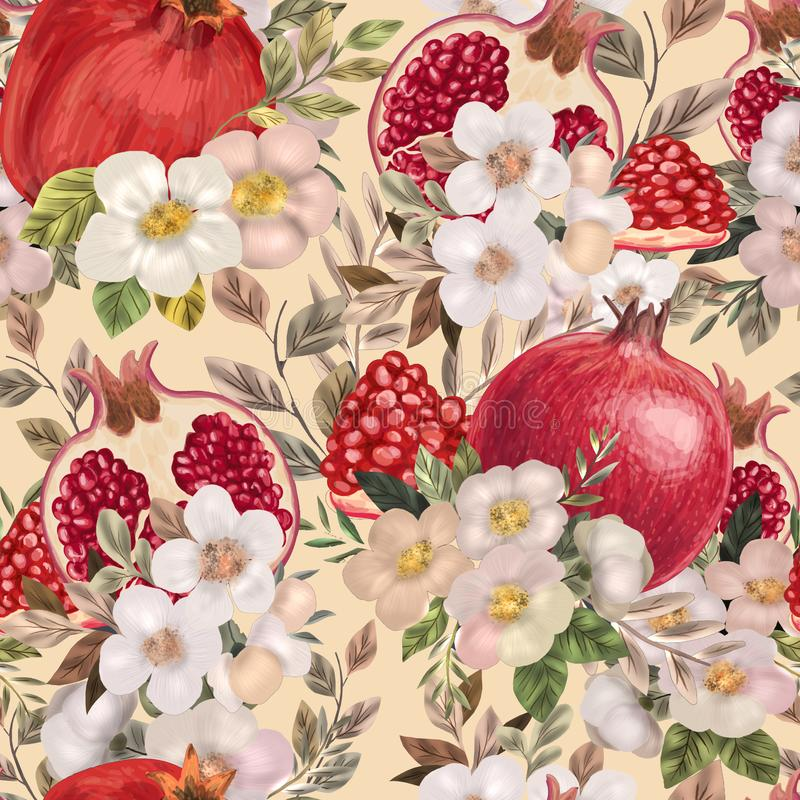 Seamless pattern with watercolor flowers, peonies and pomegranates. royalty free illustration