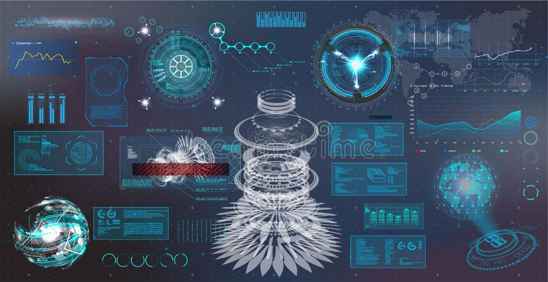 HUD interface. Virtual reality technology. Futuristic User Interface data, charts, gadgets, app elements, dashboard, earth map, hologram, radars HUD collection royalty free illustration
