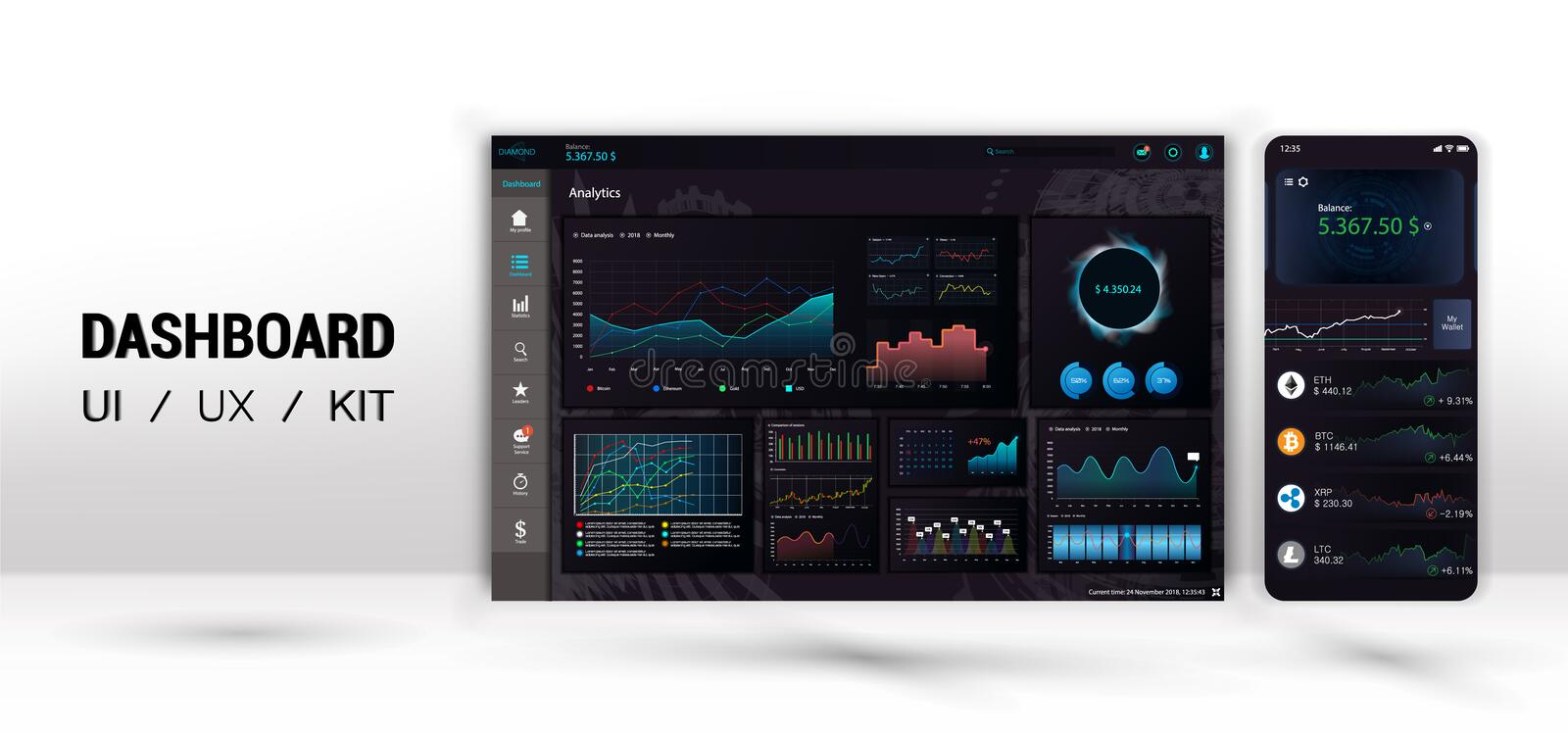 Infographic dashboard template with flat design graphs and pie chart stock illustration