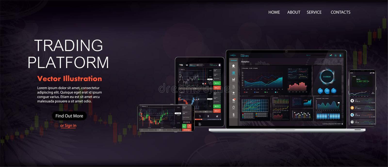 Web Site Screen template. Forex market, news and analysis stock illustration
