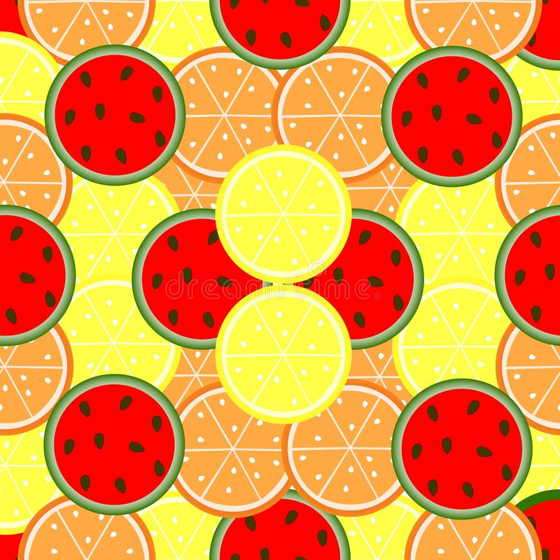 Fruit seamless pattern. Picture of oranges, lemons and watermelon. Fruit seamless pattern. Picture of oranges, lemons and watermelon vector illustration
