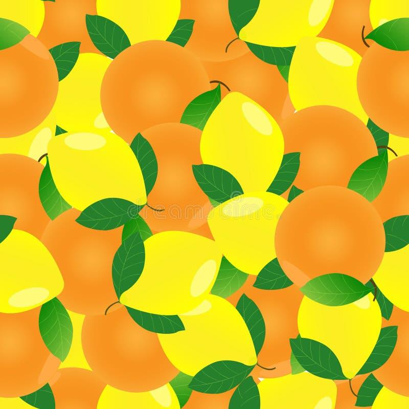 Seamless pattern of oranges and lemons. Background of citrus fruits. Seamless pattern of oranges and lemons. Background of citrus fruits royalty free illustration