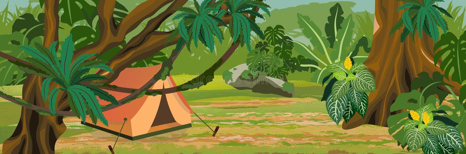 Tourist tent in the jungle. A tropical forest. Rainforests of Amazonia stock illustration