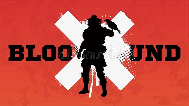 Apex legends, Bloodhound character. Battle royale concept, vector illustration in grunge style. Apex legends, character Bloodhound stock illustration