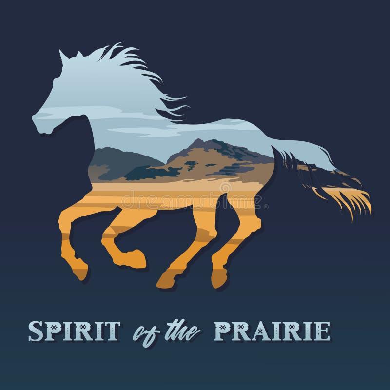 Spirit of the prairie. Illustration running horse and prairie landscape stock illustration