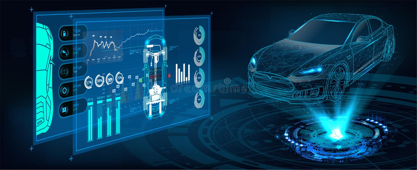 Car service in the style of HUD. HUD UI. Abstract virtual graphic touch user interface. Car service in the style of HUD. Hologram of the car. Car projection royalty free illustration