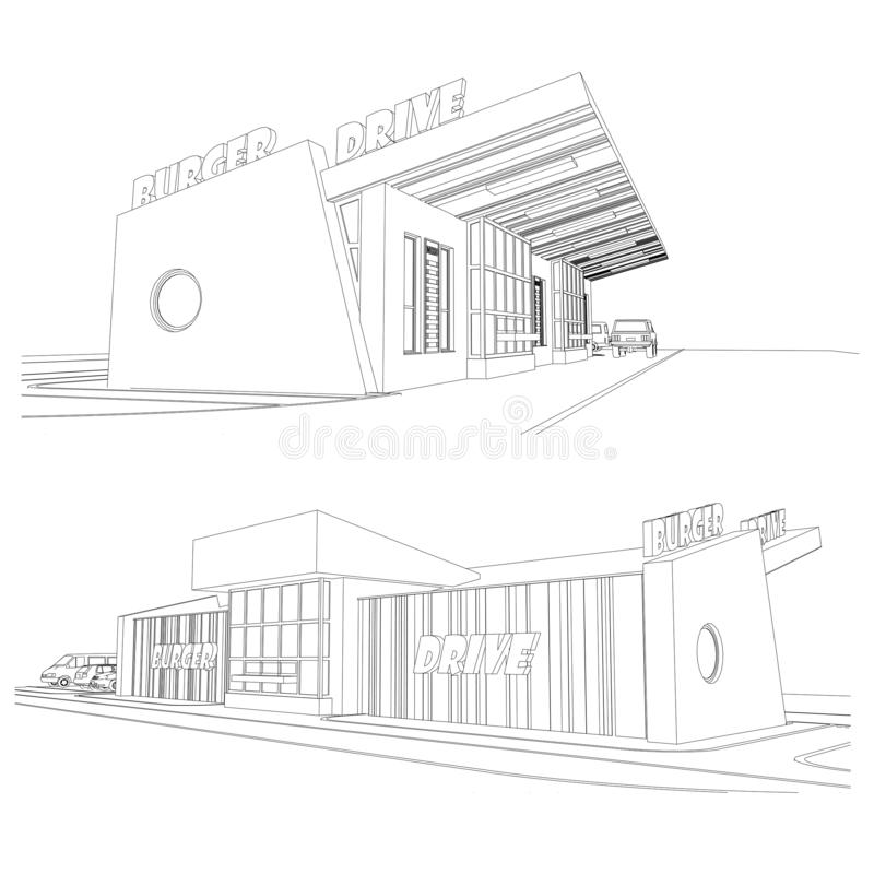 Vector set of street food burger cafe facades, detailed architectural drawing vector illustration
