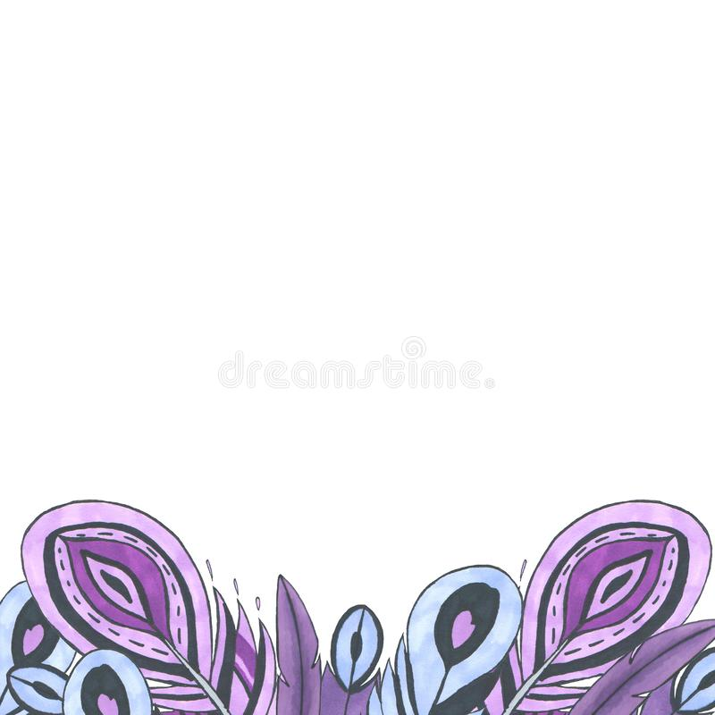 Bright frame of colorful bird feathers.. Concept of the purple feathers for the design of i royalty free stock images