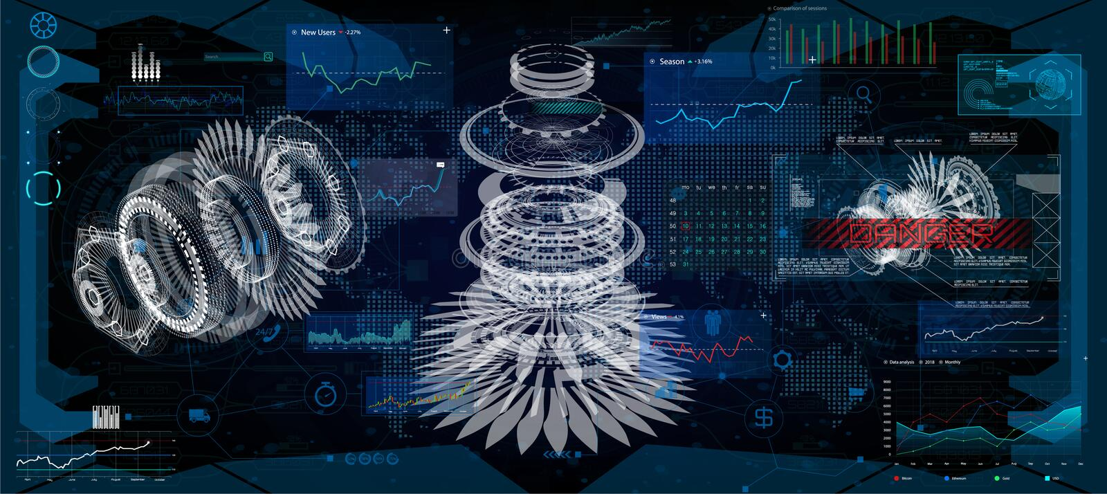 Futuristic user interface FUI and Infographic elements stock illustration