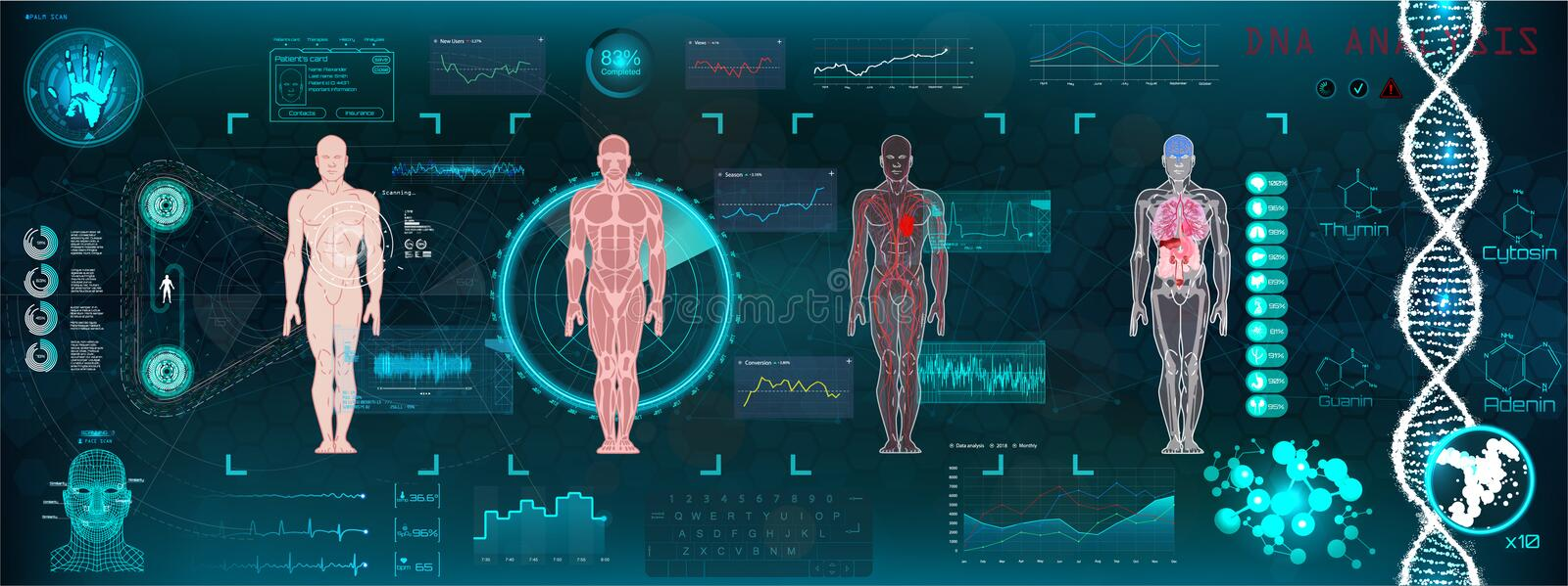 HUD healthcare A modern medical interface. A modern medical interface for monitoring human scanning and analysis, HUD healthcare. Medical interface. Abstract stock illustration