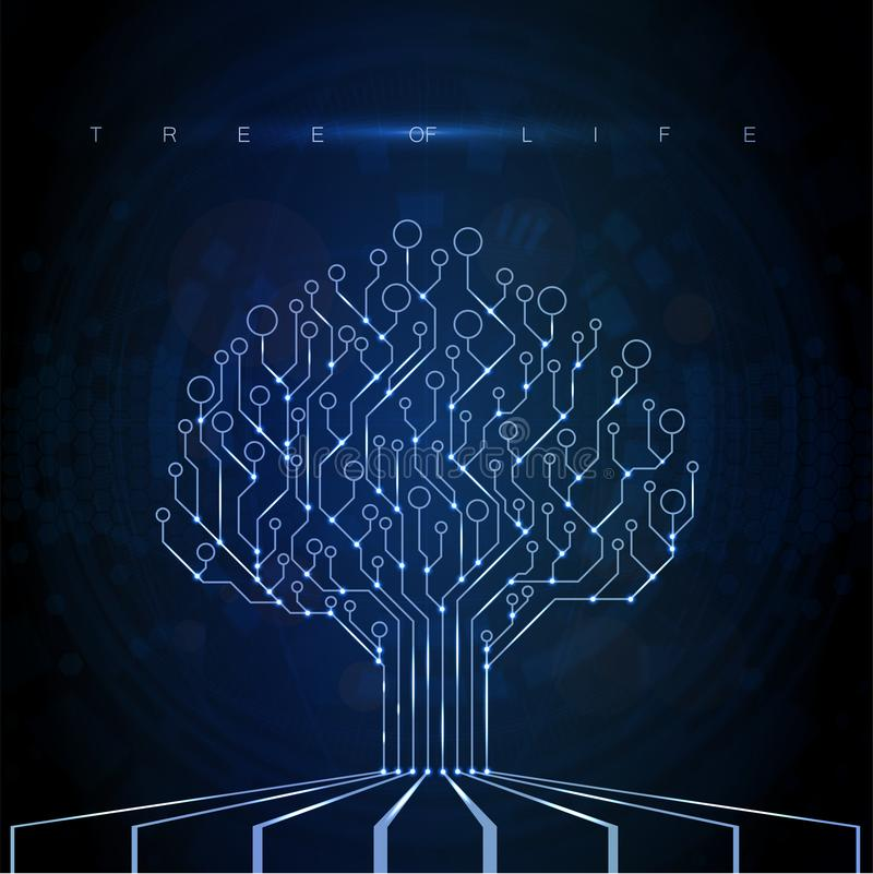 Circuit Board Tree. Technology CPU royalty free illustration