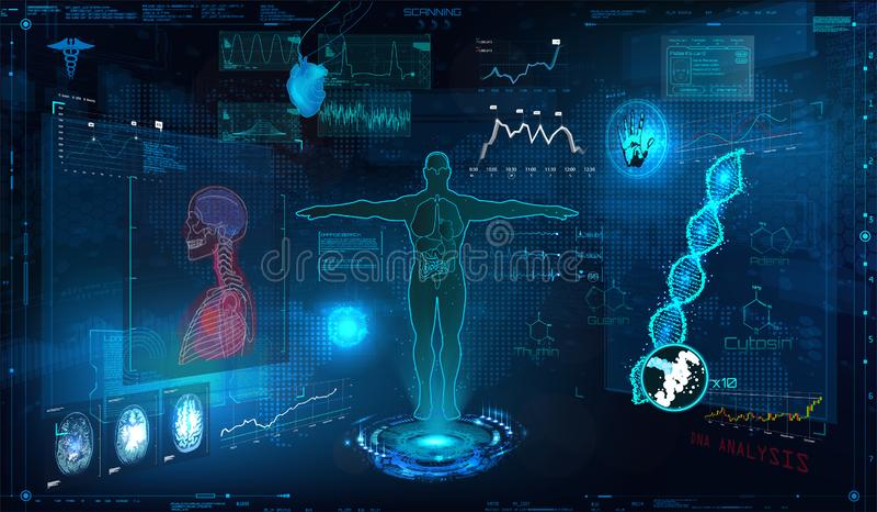 Medical examination HUD elements set royalty free illustration