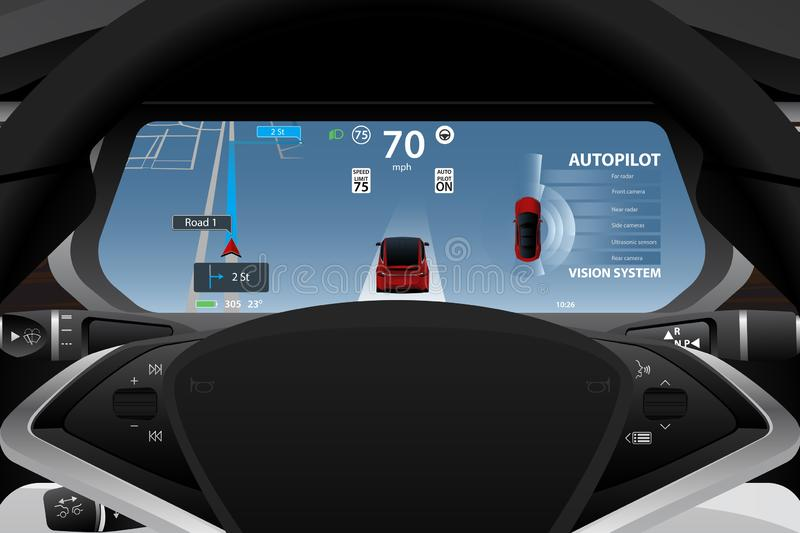 Self driving electric car dashboard royalty free illustration