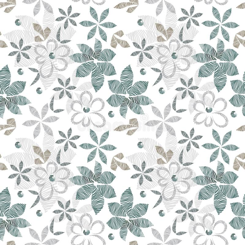 Raster floral seamless stylish pattern, hatched vintage decorative light flowers and leaves of simple shape vector illustration