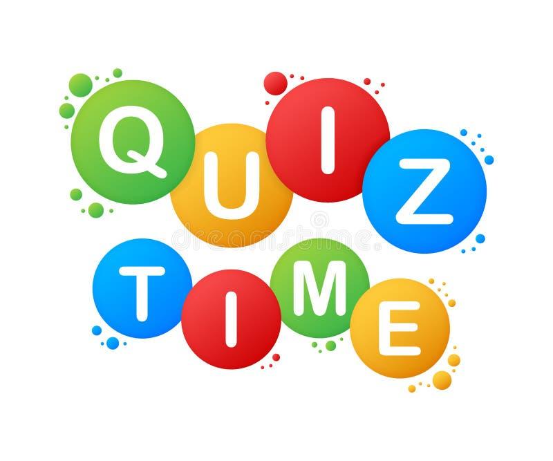 Quiz time logo with speech bubble symbols, concept of questionnaire show sing, quiz time button, question competition. vector illustration