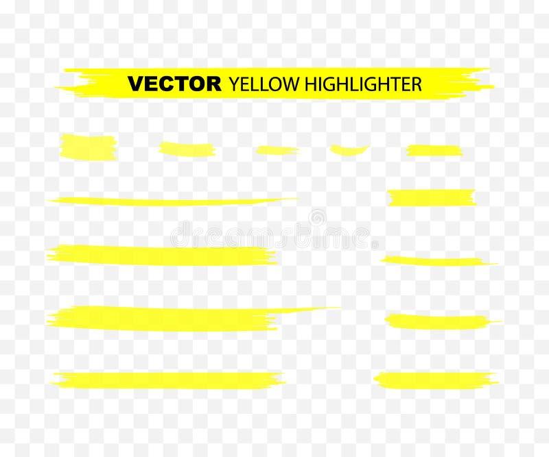 Yellow Highlighter Marker Strokes. Yellow watercolor hand drawn highlight set. Vector illustration. stock illustration