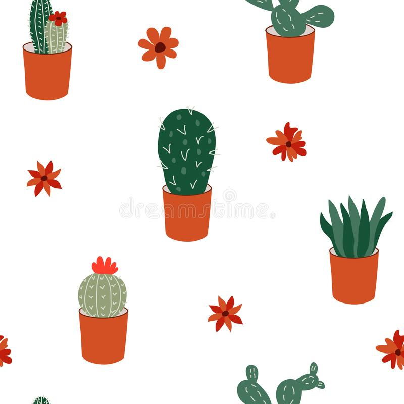 Hand drawn cactus plant succulent set. Vector seamless pattern royalty free illustration