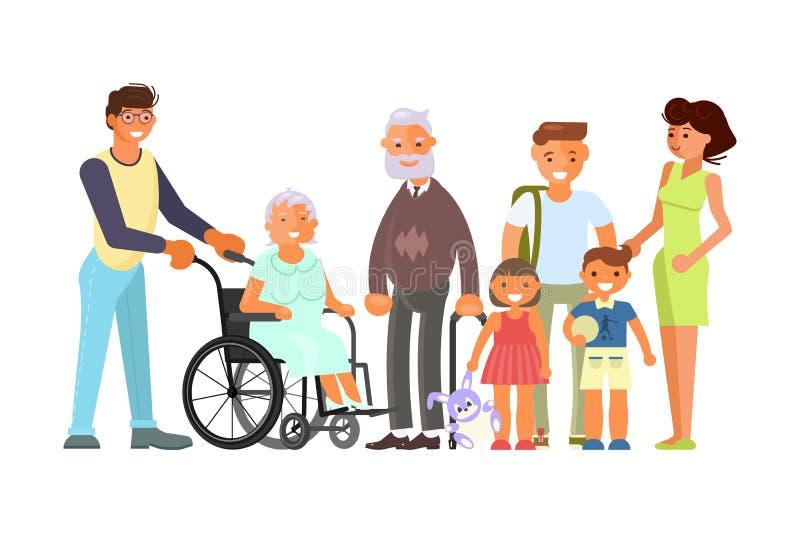Big family portrait including kids, parents and grandparents vector illustration