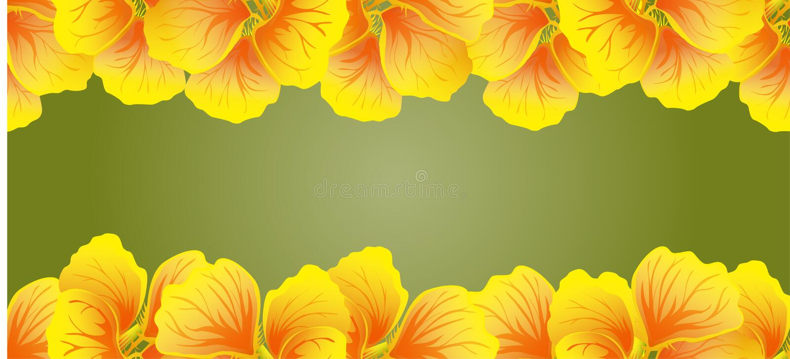 Bright Nasturtium Seamless border. Yellow flowers. Beautiful Horizontal banner. Green background. Card, invitation, poster. Greeting design.  royalty free illustration