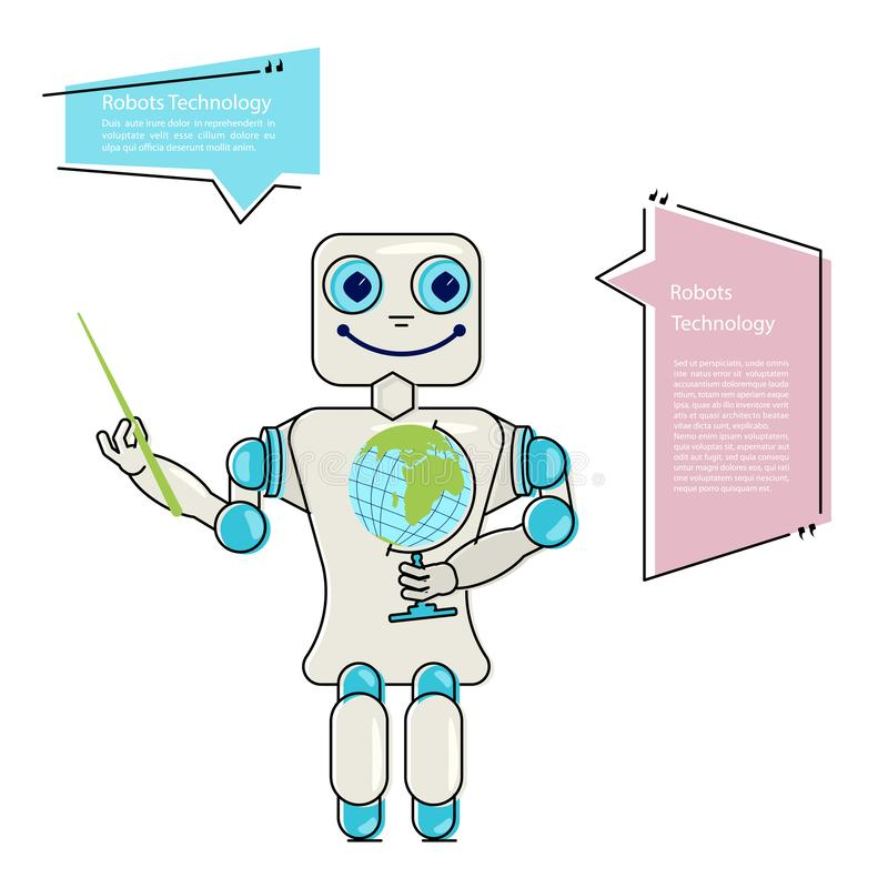 Friendly Android Robot teacher Character stock illustration