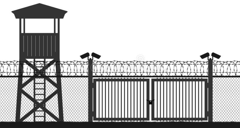 Block post, gate. Fence wire mesh barbed wire, seamless vector silhouette. Checkpoint and prison tower and protection territory and watchtower and state border stock illustration