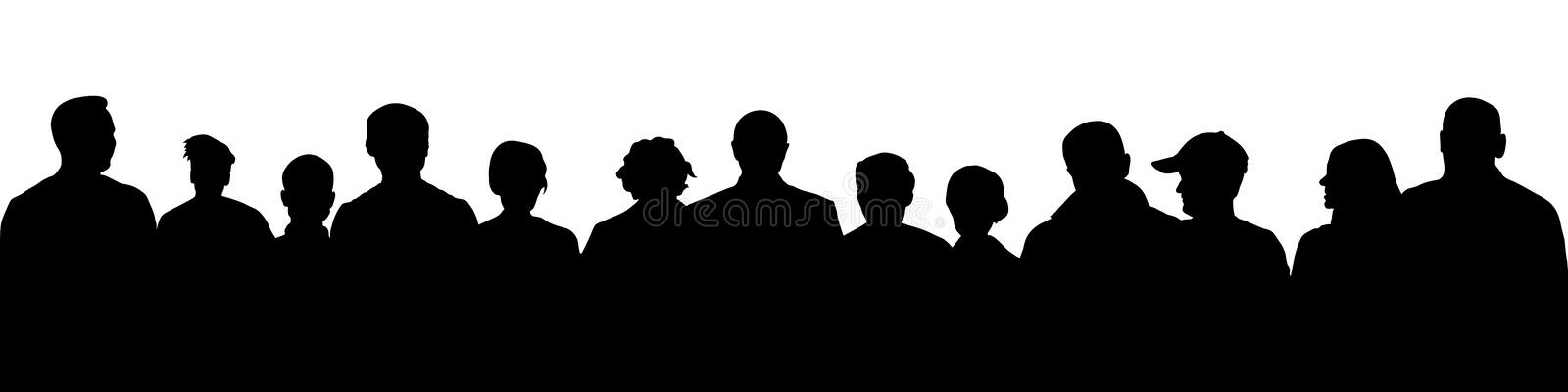 Crowd of people silhouette. Large audience anonymous faces. Meeting demonstrators. royalty free illustration