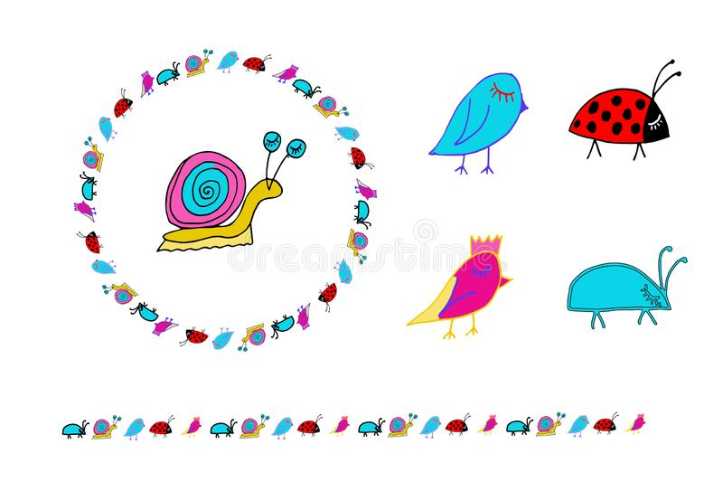 Doodle snail, birs, bug, ladybug. Wreath and horizontal border. royalty free illustration