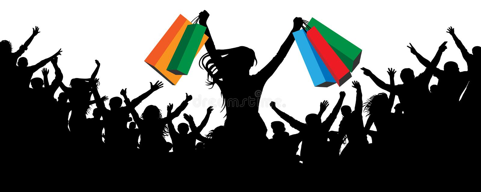 Happy buyer silhouette. Crowd cheers people on discounted. vector illustration