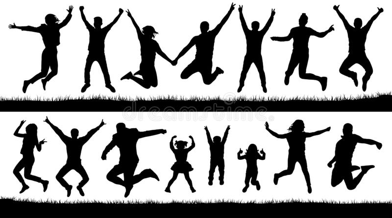 Happy jumping people, silhouettes set. Cheering young children, audience vector illustration