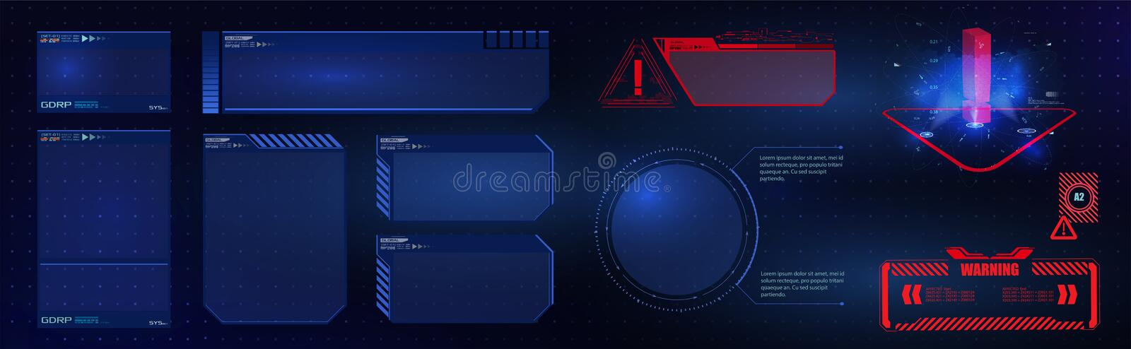 HUD UI GUI  futuristic user interface screen elements set. High tech screen for video game. Sci-fi concept design. royalty free illustration