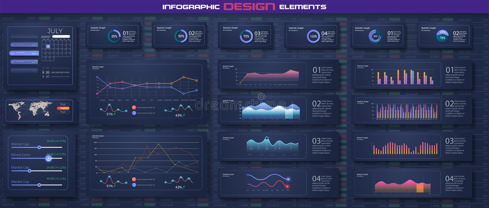 Infographic dashboard template with flat design graphs and pie charts Online statistics and data Analytics. Information Graphics vector illustration