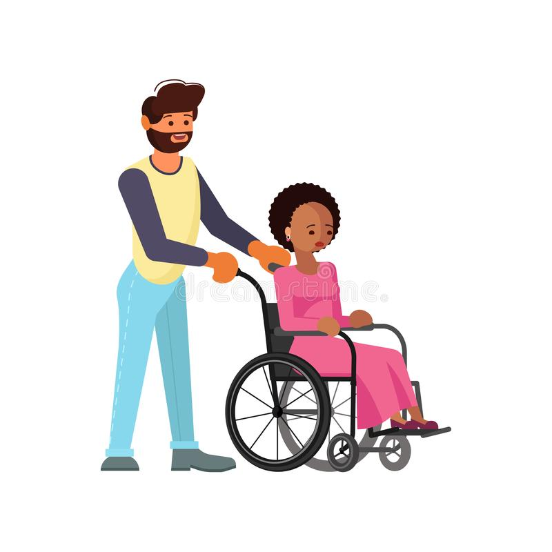 Man help to young disabled african woman. In wheelchair isolated on white background in flat design. Vector illustration eps 10 royalty free illustration