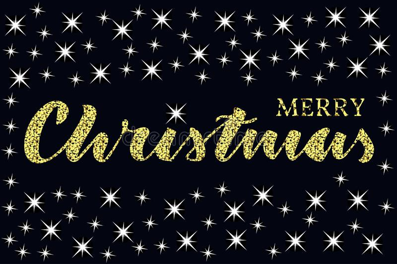 Merry christmas written quote with some sparkle stars. Glitter texture. Merry christmas lettering with sparkle big and small stars. Gold texture. Glitter words stock illustration