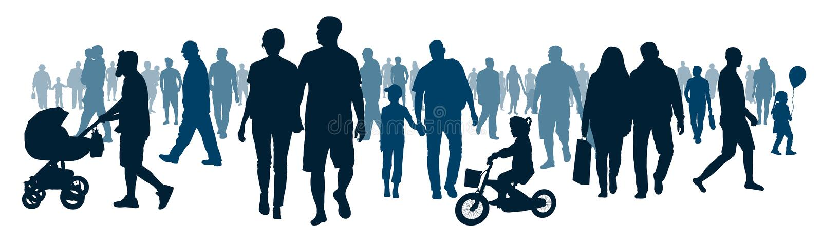 National public audience. Crowd of people walking people are going. Mob go, meeting event. Moving big group people, silhouette vector vector illustration