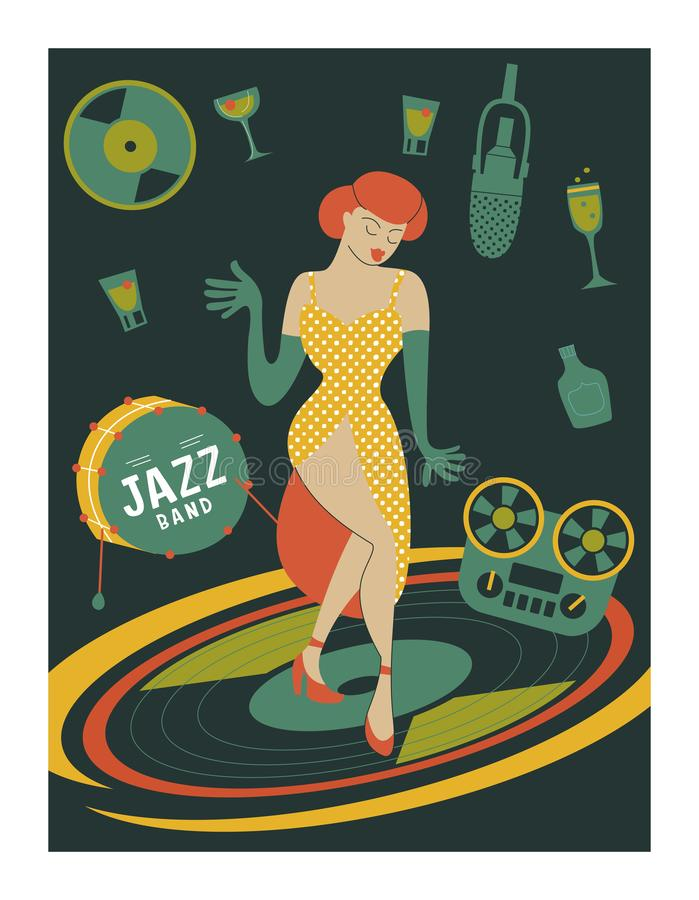 Poster music festival, retro party in the style of the 70`s, 80`s. Vector illustration with stylish musicians characters. stock illustration