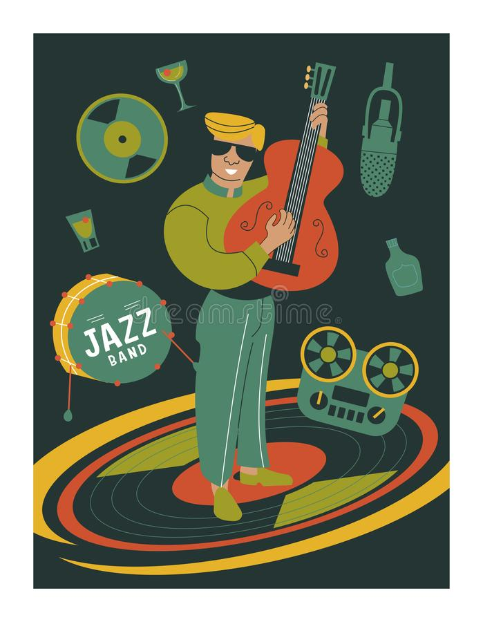 Poster music festival, retro party in the style of the 70`s, 80`s. Vector illustration with stylish musicians characters. Guy guitarist royalty free illustration