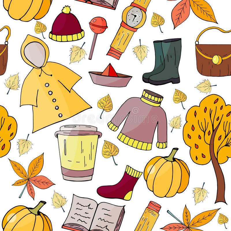 Seamless hand drawn pattern with autumn elements. On white background royalty free illustration