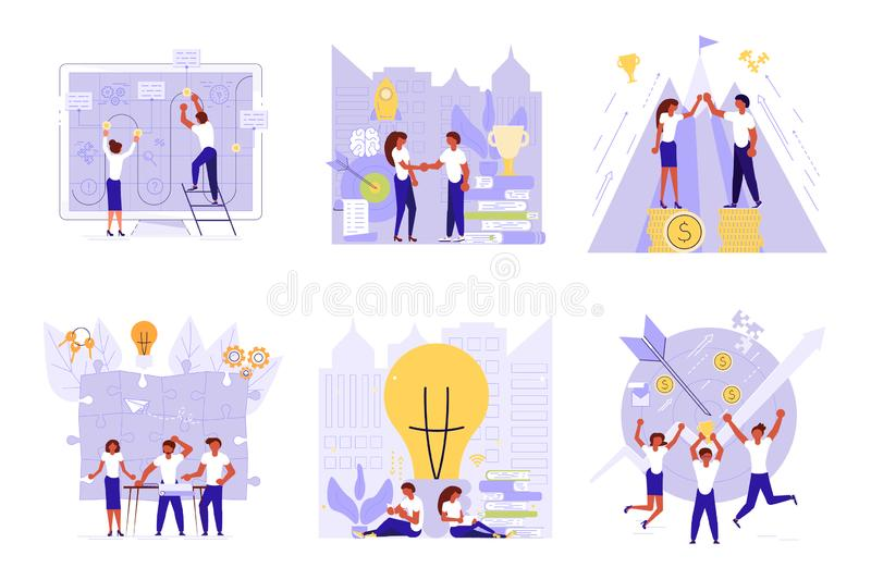 Set of Planning development of ideas concept. In flat design. Team of young businessmen draws business strategy. Vector illustration eps 10 vector illustration