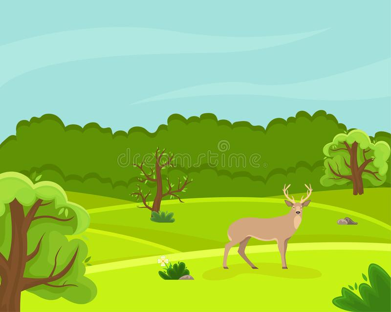 Spring countryside landscape with a deer. Sunny day. Summer fields. Cloudy sky. royalty free illustration