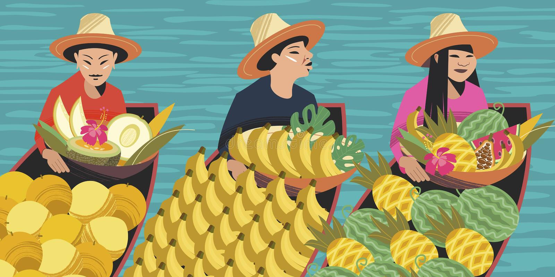Fruit traders in boats. Vector illustration. For the Thai market. stock illustration