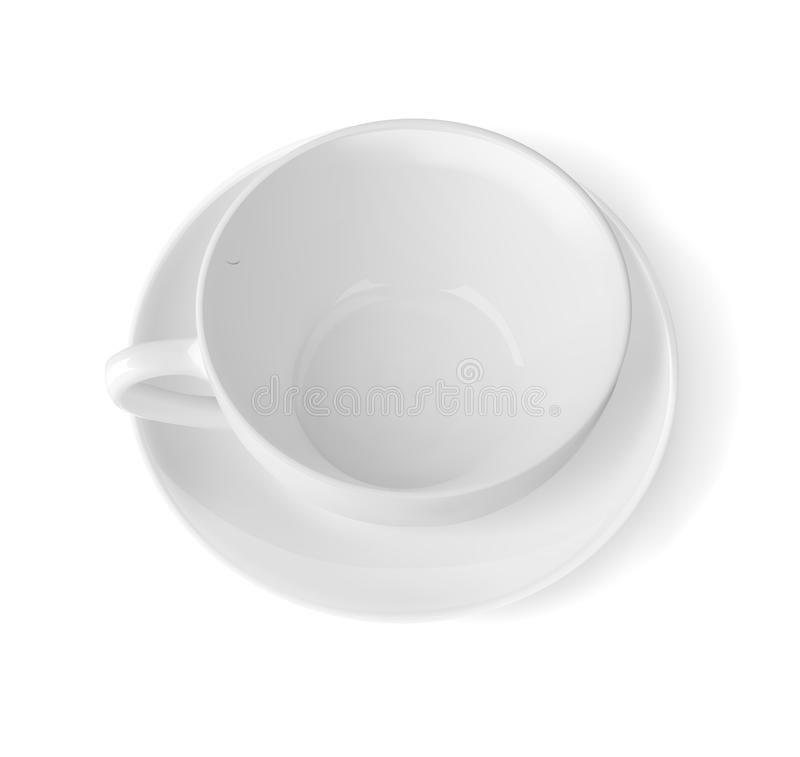 Top view of a white cup with saucer. Empty cup. Vector illustration royalty free illustration
