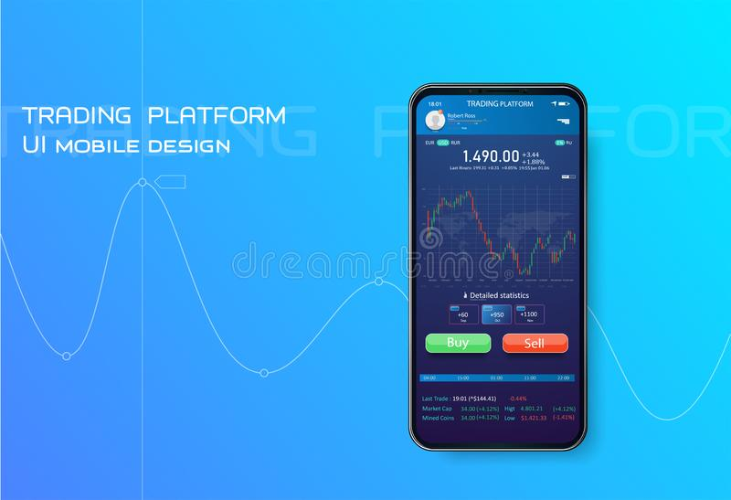 Trading mobile interface for stock exchange. Online statistics and data Analytics.Digital money market, investment stock illustration