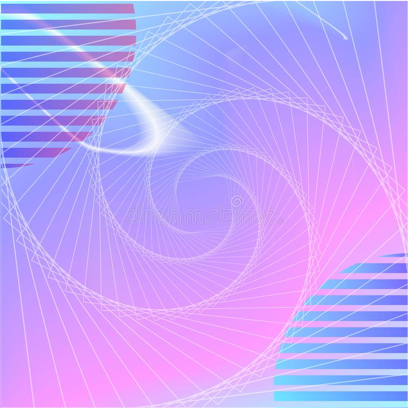 VAPORWAVE style electronic genre music. Spiral, colored background, ball royalty free illustration