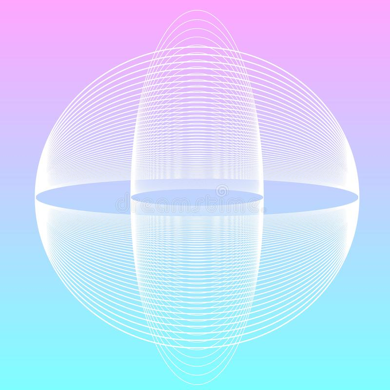 VAPORWAVE style electronic genre music. Electronic genre music, colored background, two spheres stock illustration