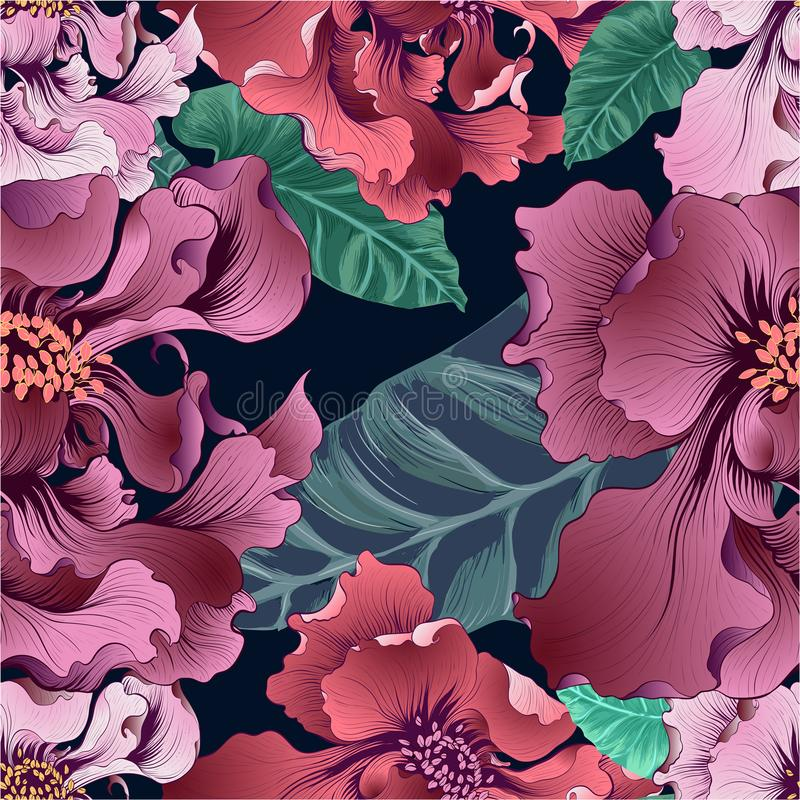 Vector. Fantasy flowers - decorative composition. Flowers with long petals. Wallpaper. Seamless patterns Use printed materials, si royalty free illustration