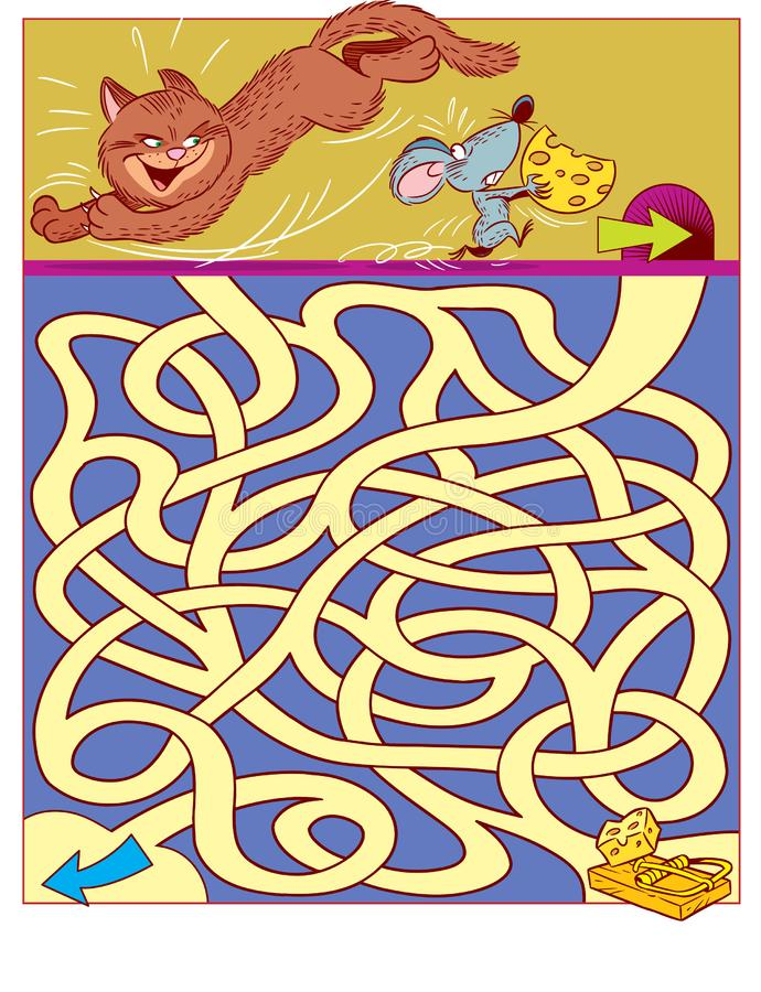 Puzzle for children with cat and mouse stock illustration