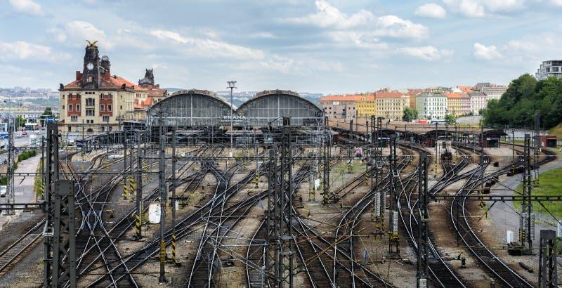 Основной центральный железнодорожный вокзал самый большой и самый важный железнодорожный узел Праги и целый чехии стоковое фото