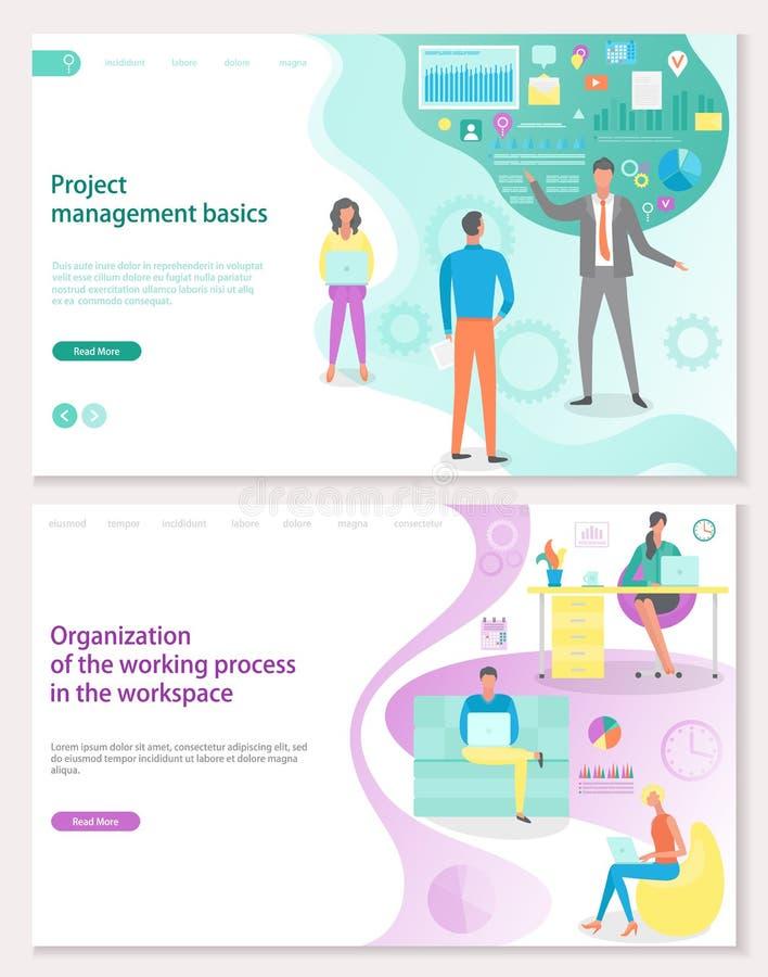 Основы руководства проектом, организация рабочего места иллюстрация вектора