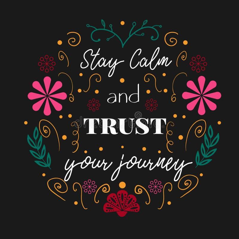 Останьтесь спокойный и доверьтесь вашему плакату путешествием в фольклорном стиле иллюстрация штока